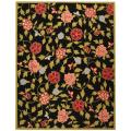 "Hand-Hooked Garden Black Rectangle Wool Rug (5'3"" x 8'3"")"