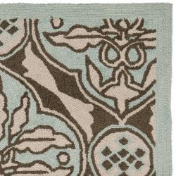 Hand-hooked Chelsea Brown/ Blue Wool Runner (2'6 x 4')