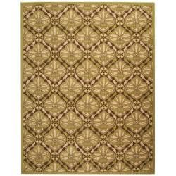 Hand-hooked Chelsea Brown/ Green Wool Rug (3'9 x 5'9)