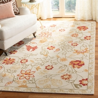 Hand-hooked Eden Ivory Wool Rug (3'9 x 5'9)
