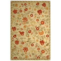 Hand-hooked Eden Ivory Wool Rug (5'3 x 8'3)