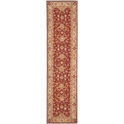 Hand-hooked Tabriz Rust/ Ivory Wool Runner (2'6 x 12')