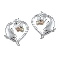 Black Hills Gold and Sterling Silver Dolphin Earrings