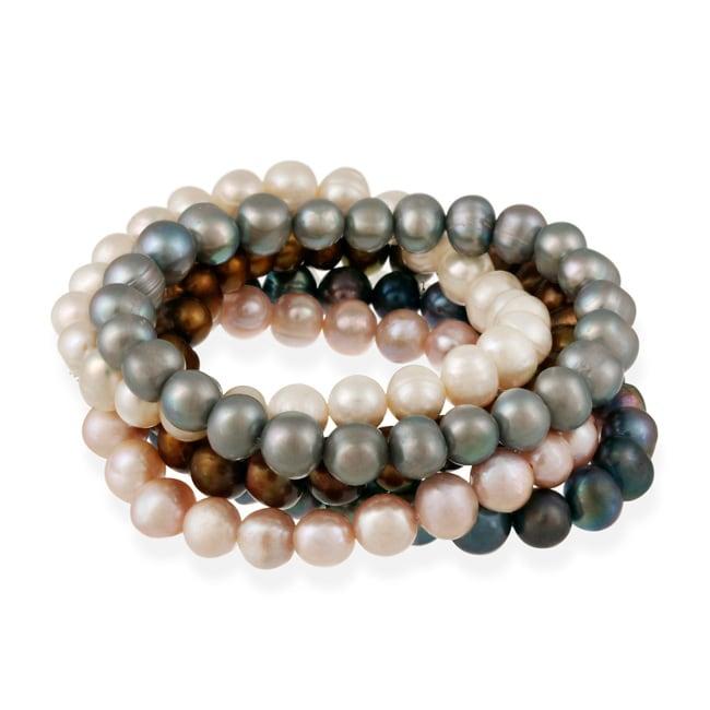 Glitzy Rocks Set of 5 Multicolor Freshwater Pearl Stretch Bracelets (8-9 mm)
