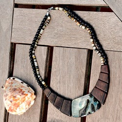 Wood and Blacklip Shell Necklace (Philippines)