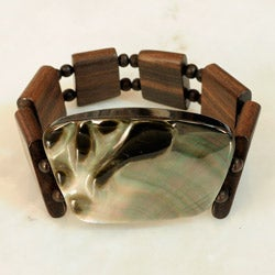 Wood and Blacklip Shell Stretch Bracelet (Philippines)