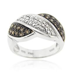 DB Designs Sterling Silver 1/4ct TDW Brown Diamond Wave Ring