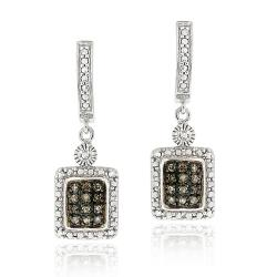 DB Designs Sterling Silver 1/4ct TDW Brown Diamond Dangle Earrings