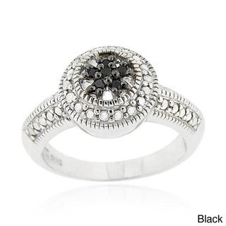 DB Designs Sterling Silver Black or Brown Diamond Accent Flower Ring