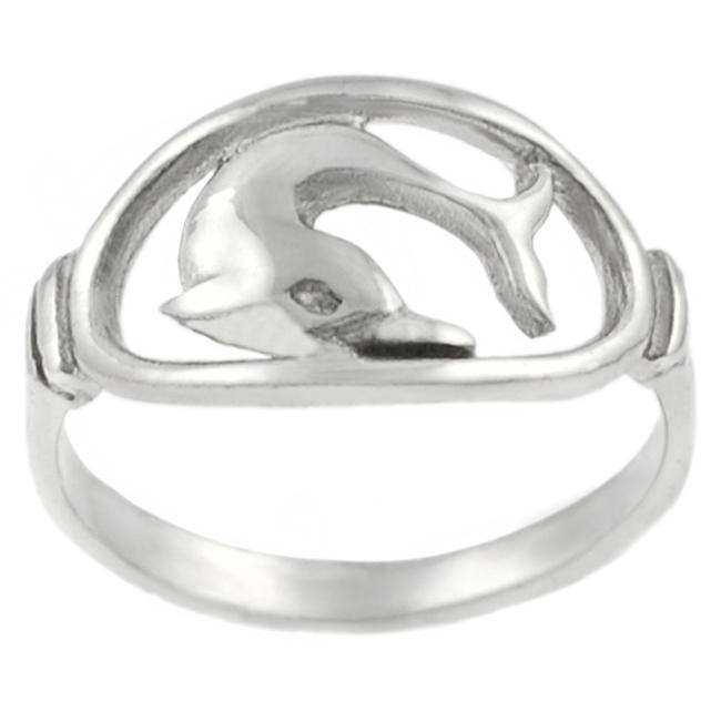 Journee Collection Sterling Silver Dolphin in Oval Ring