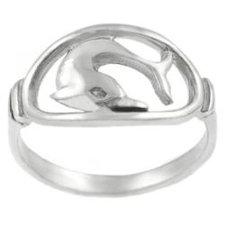 Tressa Sterling Silver Dolphin in Oval Ring