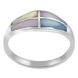 Journee Collection Sterling Silver Multi-colored Mother of Pearl Ring