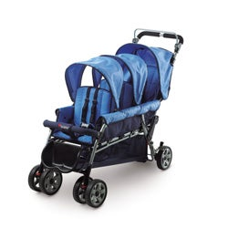 Foundations Blue Steel Tubing/Nylon Trio Triple Tandem Stroller