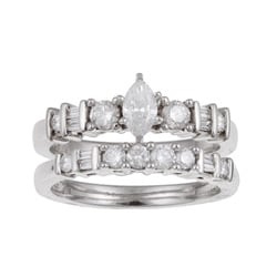 Eloquence 14k White Gold 1ct TDW Diamond Bridal Ring Set (H-I, I1-I2)