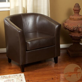 Christopher Knight Home Brown Bonded Leather Barrel Club Chair