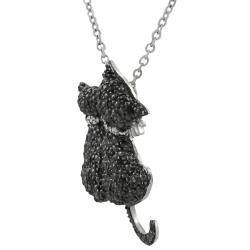 Journee Collection  Sterling Silver Cubic Zirconia Two Black Cats Necklace