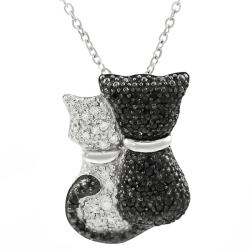 Tressa Sterling Silver Cubic Zirconia Black and White Cat Necklace
