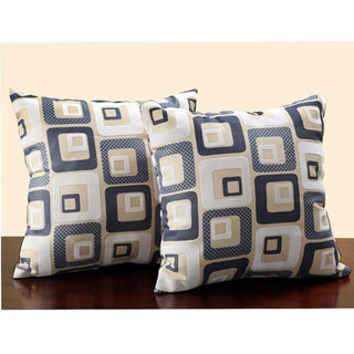 Tribecca Home Square Print 18-inch Throw Pillows (Set of 2)