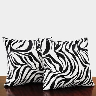 TRIBECCA HOME Zebra Print Throw Pillows (Set of 2)