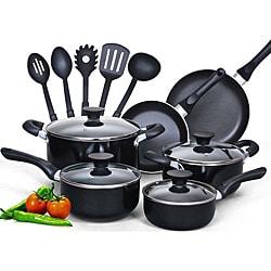 Cook N Home Aluminum 15-piece Nonstick Soft-handle Cookware Set