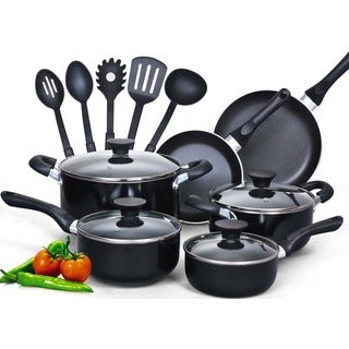 Cook N Home Aluminum 15-piece Nonstick Soft-handle Cookware Set