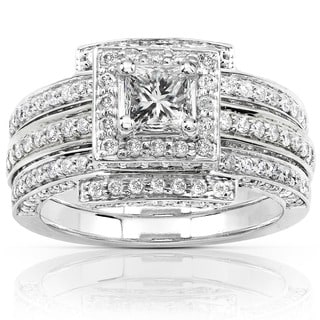Annello 14k White Gold 1 1/2ct TDW Diamond Princess Halo Bridal Ring Set (H-I, I1-I2) with Bonus Item