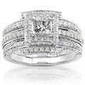 Annello 14k White Gold 1 1/2ct TDW Diamond Princess Halo Bridal Ring Set (H-I, I1-I2)