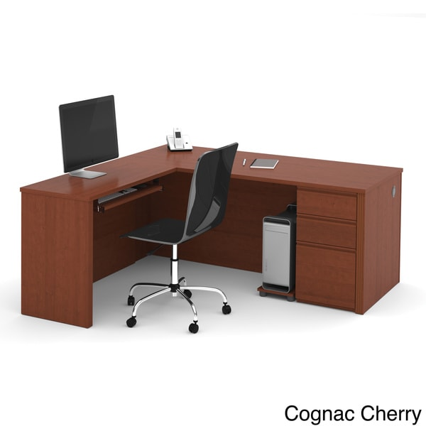 Bestar Prestige L Shaped Desk With Pedestal