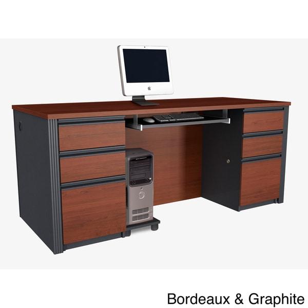 bestar prestige double pedestal desk. Black Bedroom Furniture Sets. Home Design Ideas