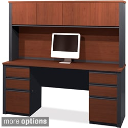 Bestar Prestige Credenza with Pedestals and Hutch