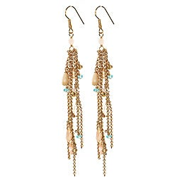Adee Waiss 18k Gold Overlay Agate, Rose Quartz and Crystal Earrings
