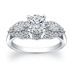 14k Gold 2/5ct TDW Round and Marquise Diamond and CZ Ring (H, SI1)