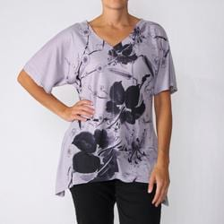 California Bloom Women's Sublimation Floral-Print V-Neck Top