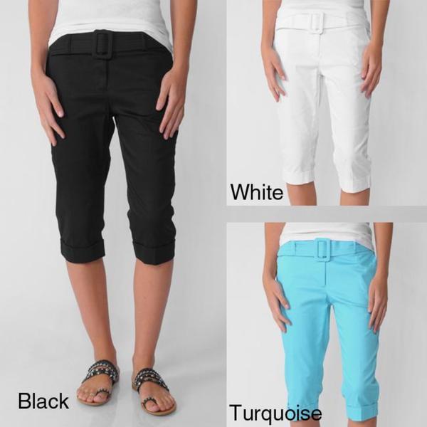 In Moda Women's Belted Capri Pants