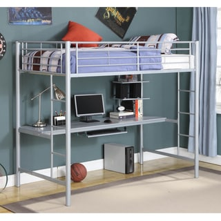 Silver Metal Twin Workstation Bunk Bed