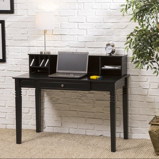Black Wood Computer Desk with Hutch