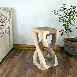 Hand-carved Wooden White Vine Twist Stool (Thailand)