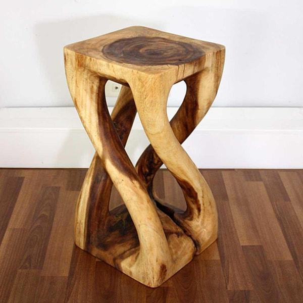 Hand-carved Wooden Vine Twist Stool (Thailand)