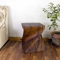 Hand-carved Wooden Big Twist Stool (Thailand)