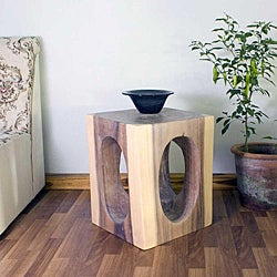Hand-carved Wooden Windows 16x16-inch Cube End Table (Thailand)