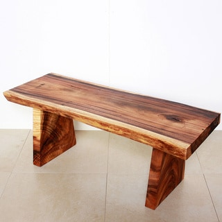 Hand-carved Wooden Natural Tung Oil Edge Bench (Thailand)
