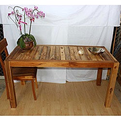 Hand-inlayed Teak Wood Kitchen Table (Thailand)