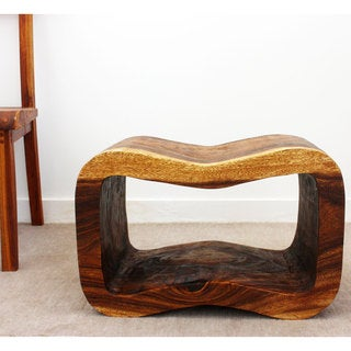 Hand-Carved Acacia Wooden Wave Bench (Thailand)