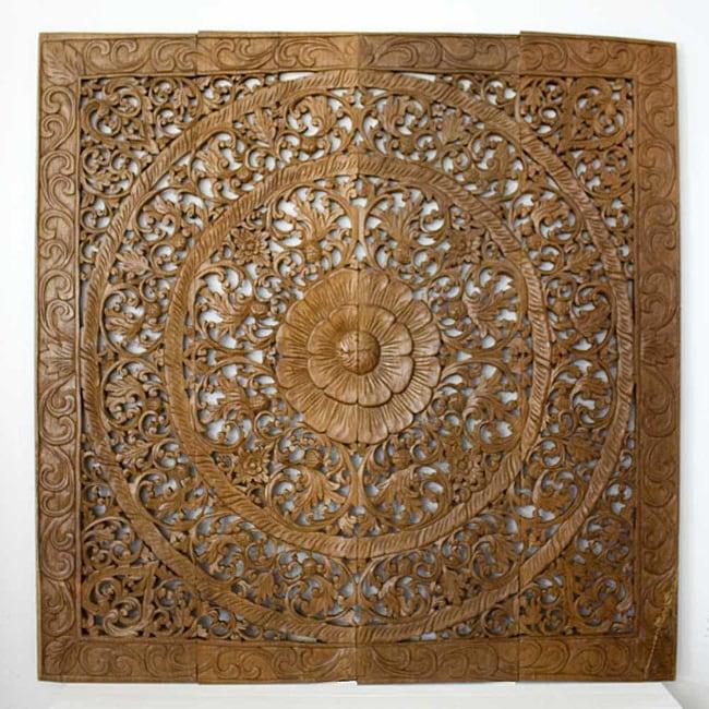 Reclaimed Teak Wood Natural Wax 48-inch Lotus Panel (Thailand)