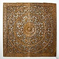Reclaimed Teak Wood Natural Wax 48-inch Lotus Panel (Thailand)