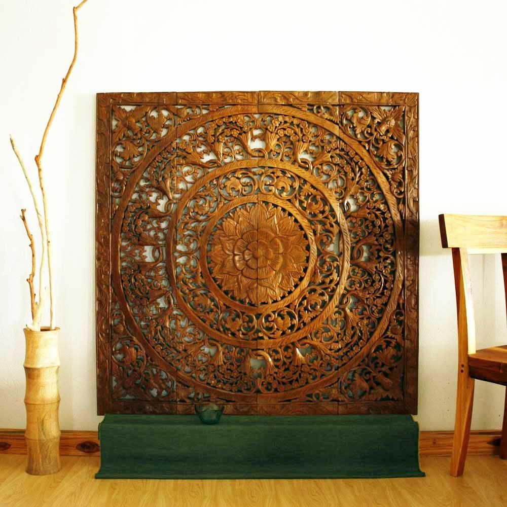 Reclaimed Teak Wood Natural Wax 48 Inch 3d Lotus Panel