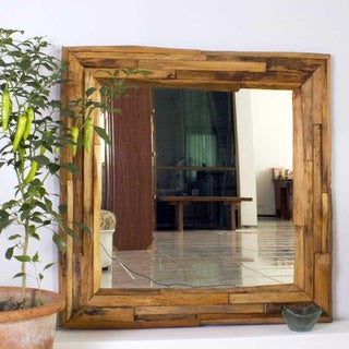 Teak Branch Tung Oil Finish Square Mirror (Thailand)