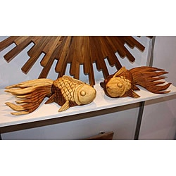 Acacia Wood Tung Oil Finish Carved Puff Fish (Thailand) (Right Side Only)