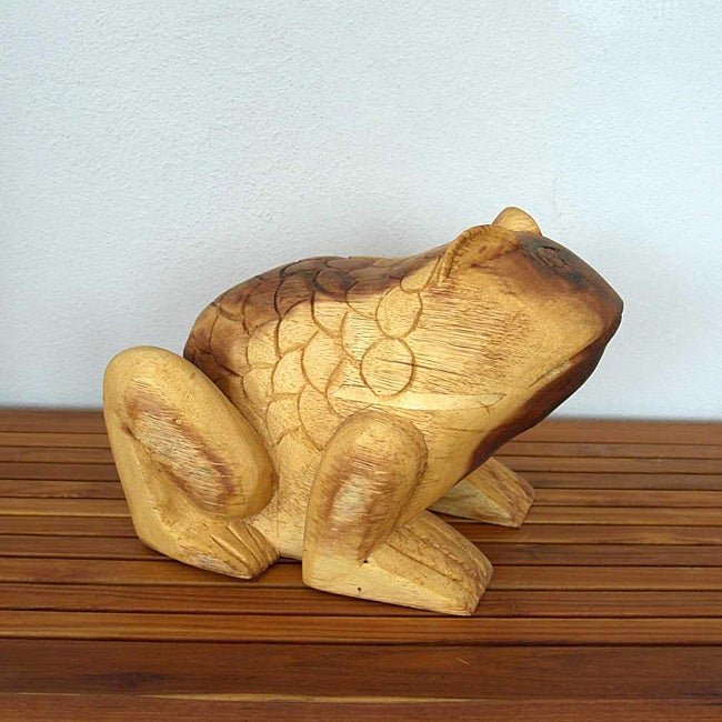 Acacia Wood Tung Oil Finish Carved Frog (Thailand)