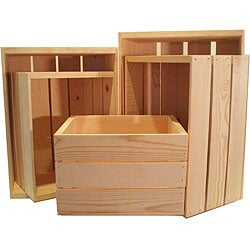 Heavy-duty Unfinished Pine Crate Sets (Pack of 5)
